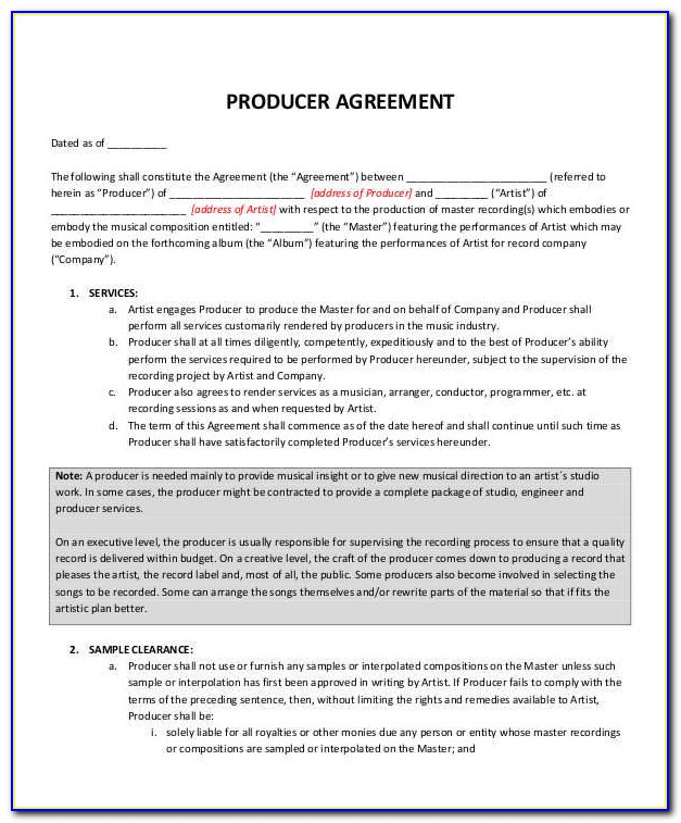 Music Production Contract Template