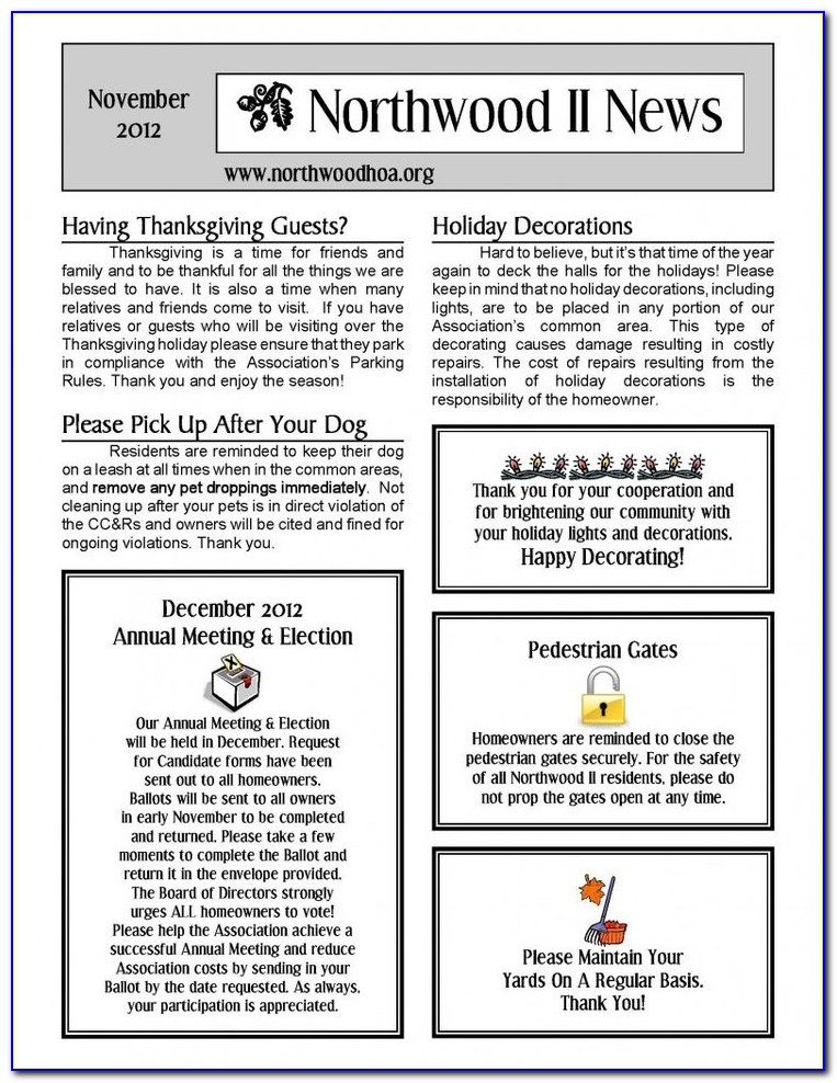 Neighborhood Association Newsletter Template