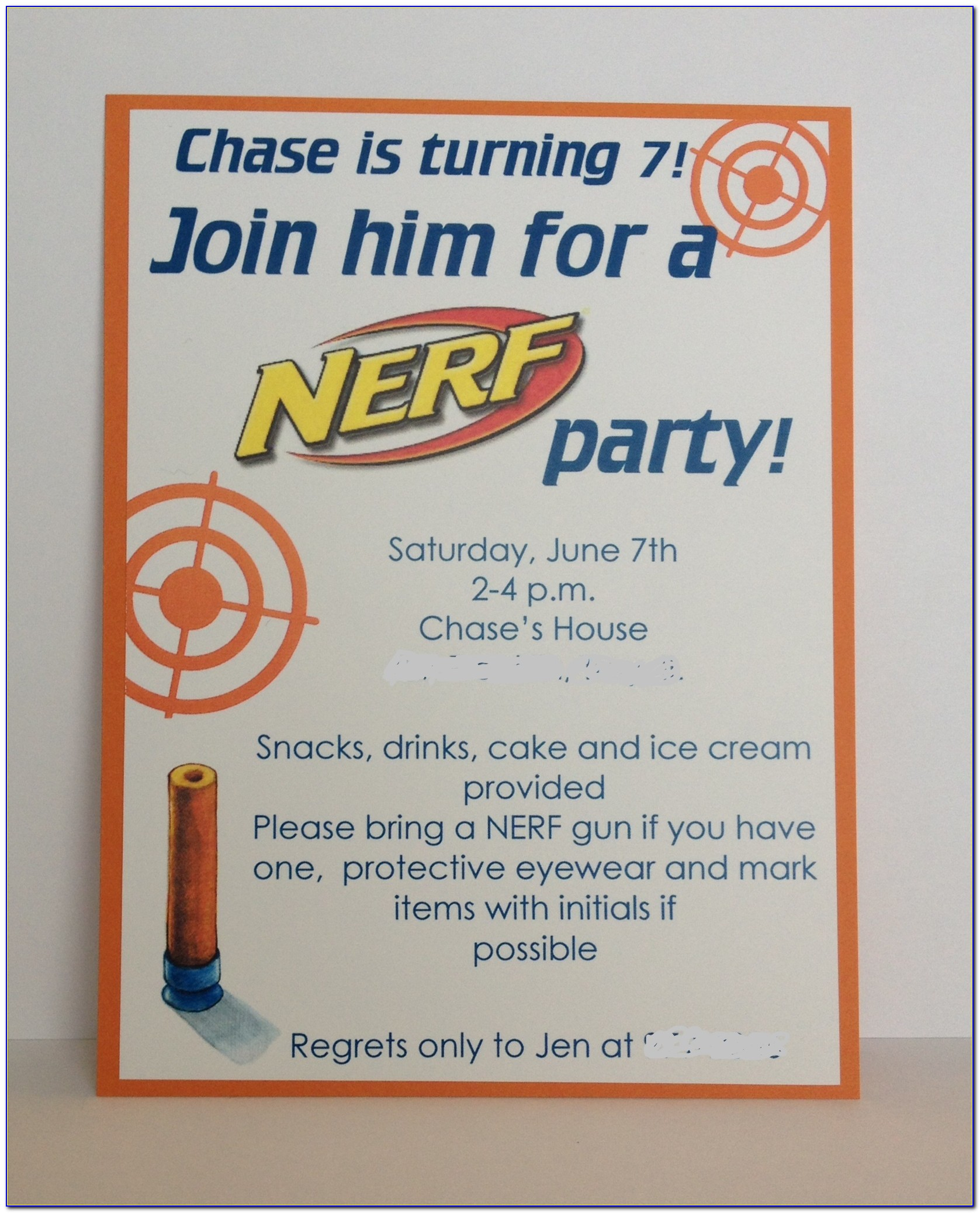 Nerf Gun Birthday Invitation Templates