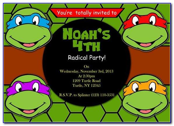 Ninja Turtle Birthday Invitation Template Free