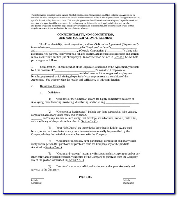 Non Compete Agreement Maryland Template