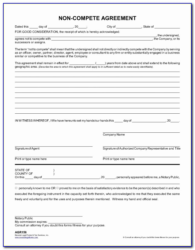 Non Compete Agreement Nevada Template