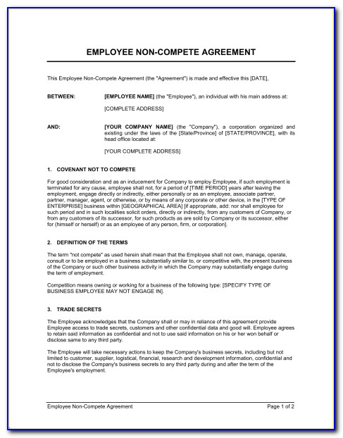 Non Compete Agreement Texas Example