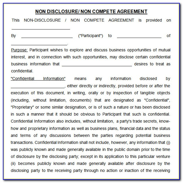 Non Disclosure And Non Compete Agreement Template