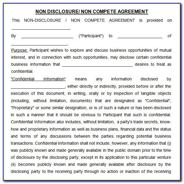 Non Disclosure And Non Compete Agreement Template