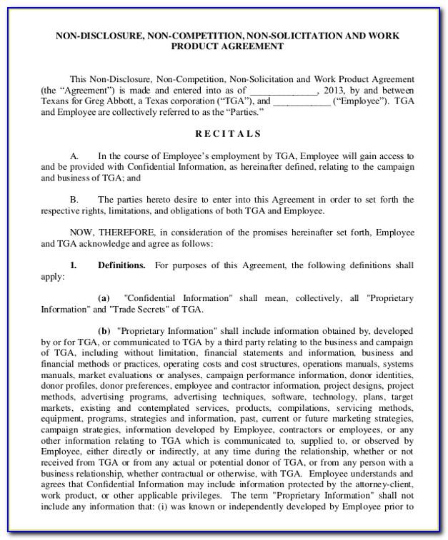 Non Disclosure Non Compete Agreement Form