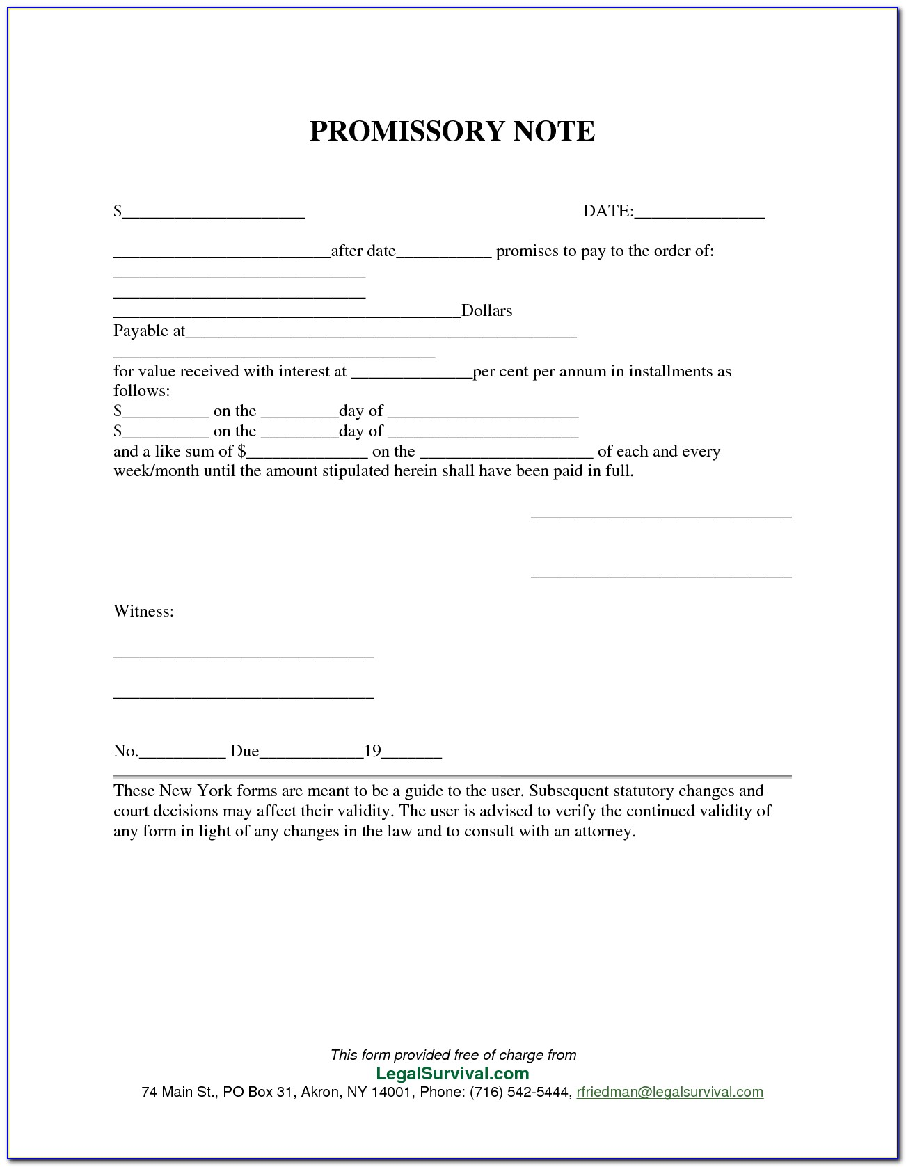 Note Payable Form Free