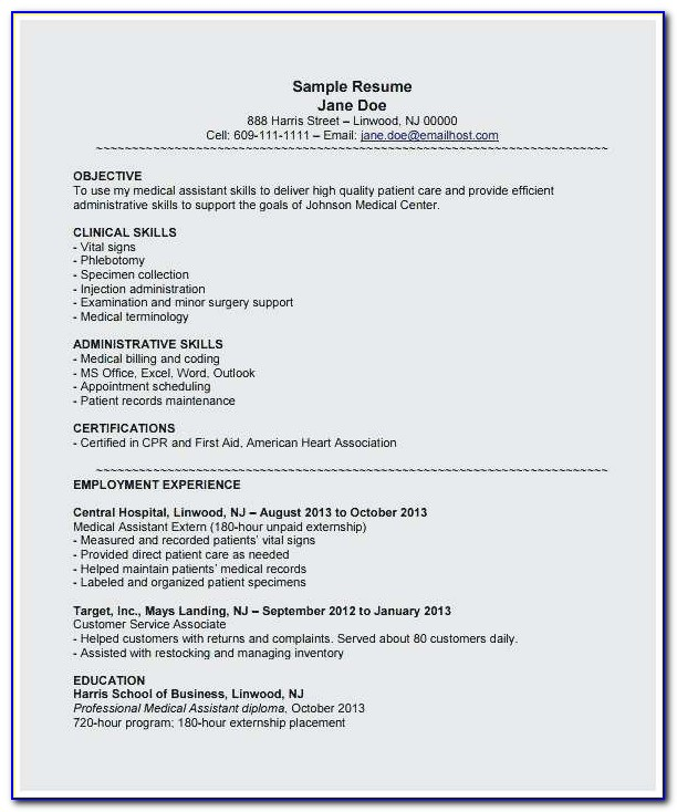 Medical Assistant Sample Resume Entry Level Perfect Medical Assistants Resume Resumes For Medical Assistant Example