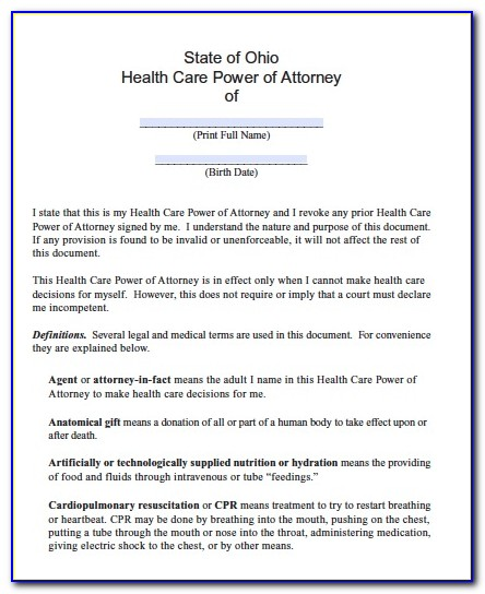 Ohio General Durable Power Of Attorney Template
