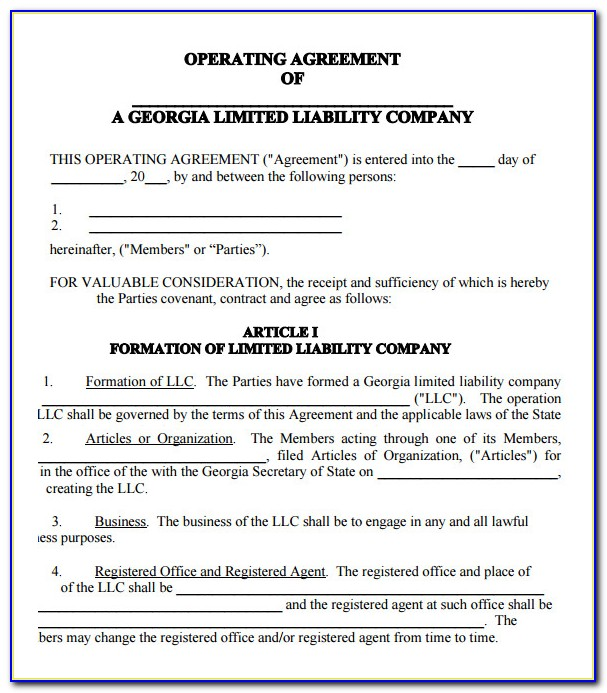 Operating Agreement Llc Ohio Template