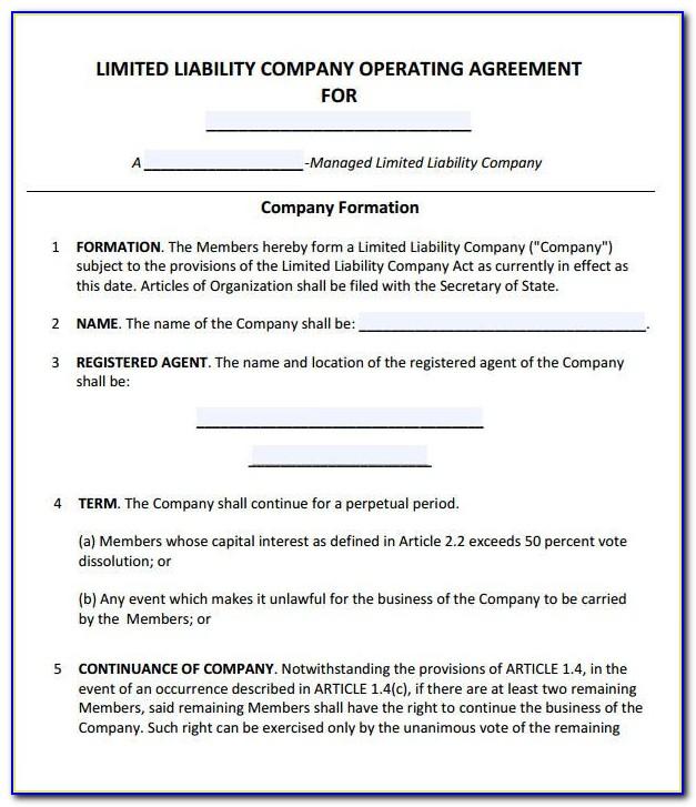Operating Agreement Llc Template Puerto Rico