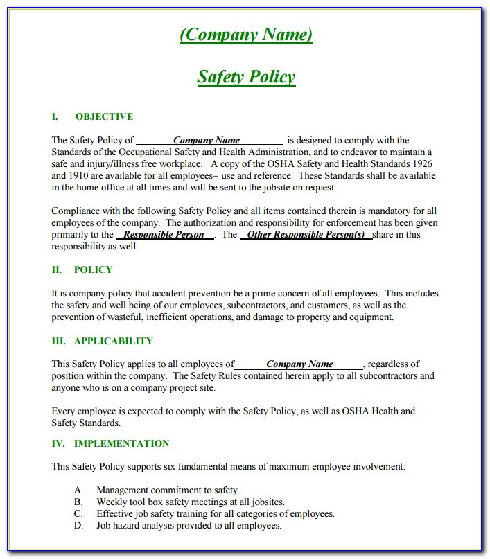 Osha Safety Policy Template