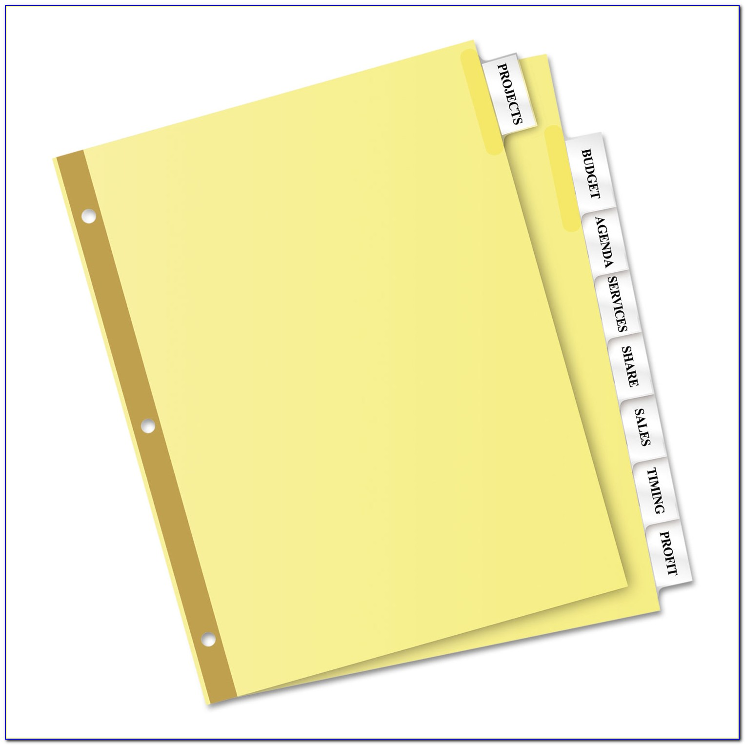 Oxford Insertable Tab Dividers Template