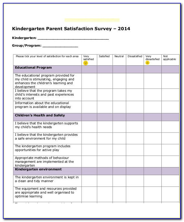 Parent Satisfaction Survey Questionnaire