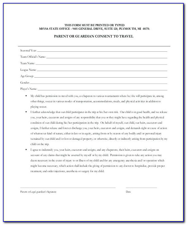 Parental Travel Consent Form Template Free