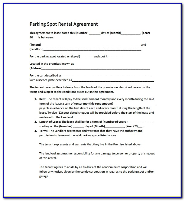 Parking Rental Agreement Template Uk