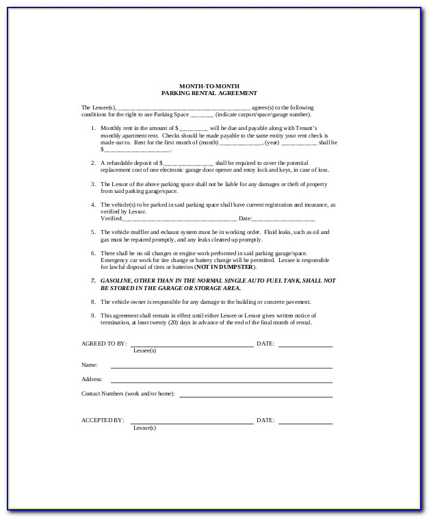 Parking Rental Agreement Template