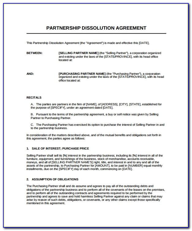 Partnership Dissolution Agreement Free Template
