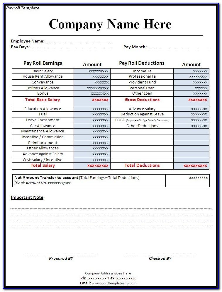 Payroll Payment Receipt Template