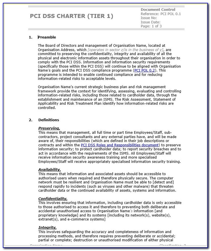 Pci Dss Charter Template