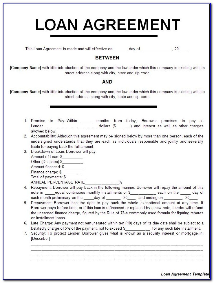 Personal Loan Agreement Word Template Free