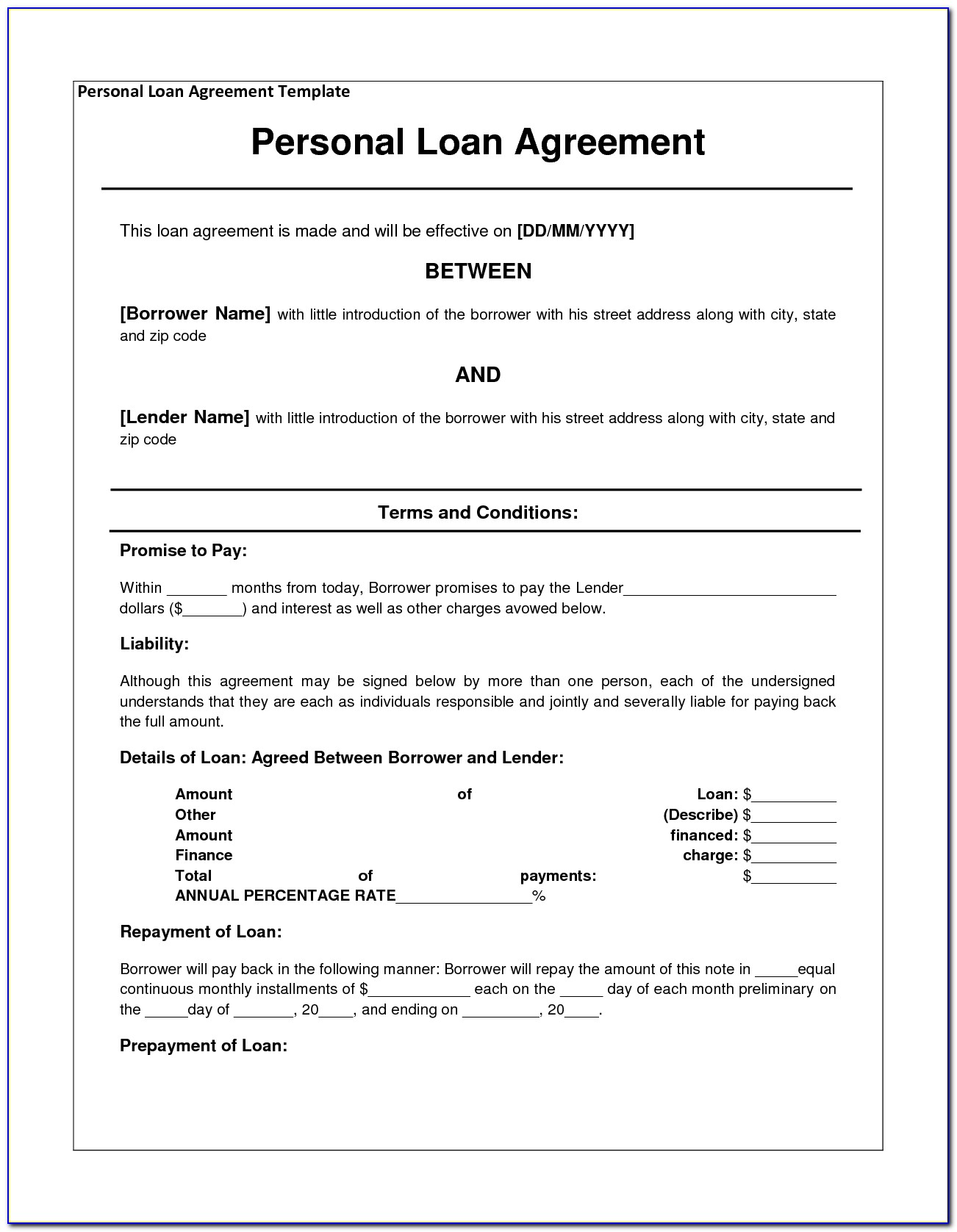 Personal Loan Document Template Free