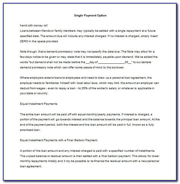 Personal Loan Promissory Note Format