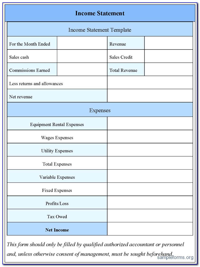 Personal Profit And Loss Statement Template Free