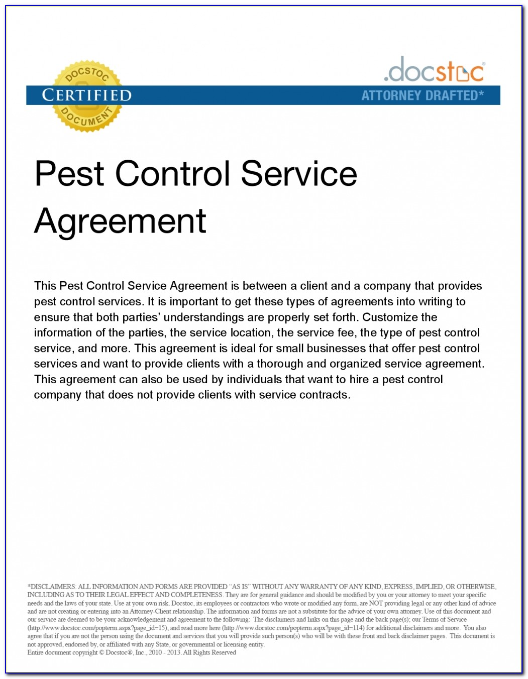 Bug Service Agreement Imagesample Ideas Pest Control Business Plan