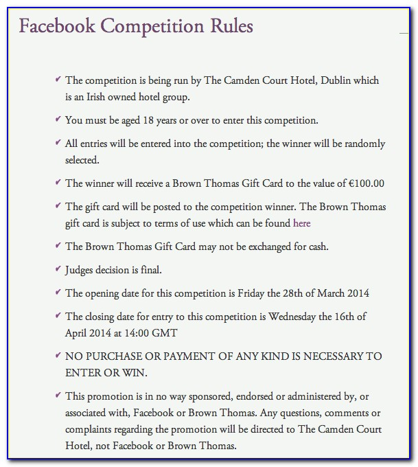 Photo Competition Terms And Conditions Template