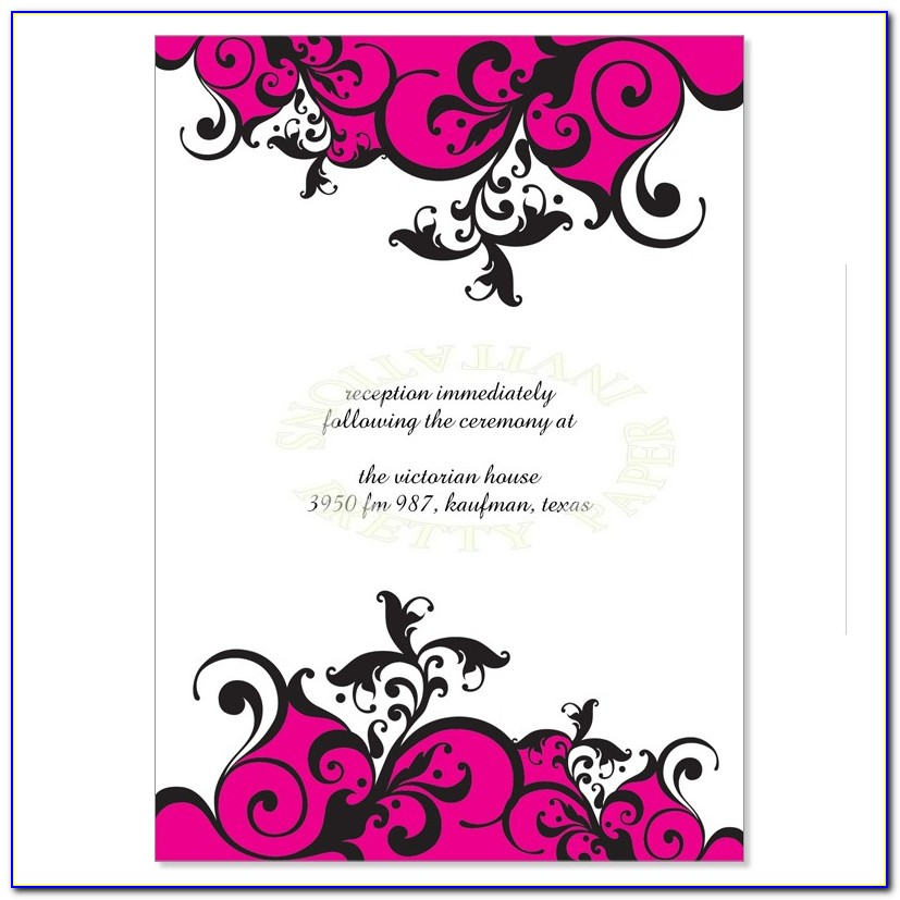 Pink And Black Blank Wedding Invitation Templates