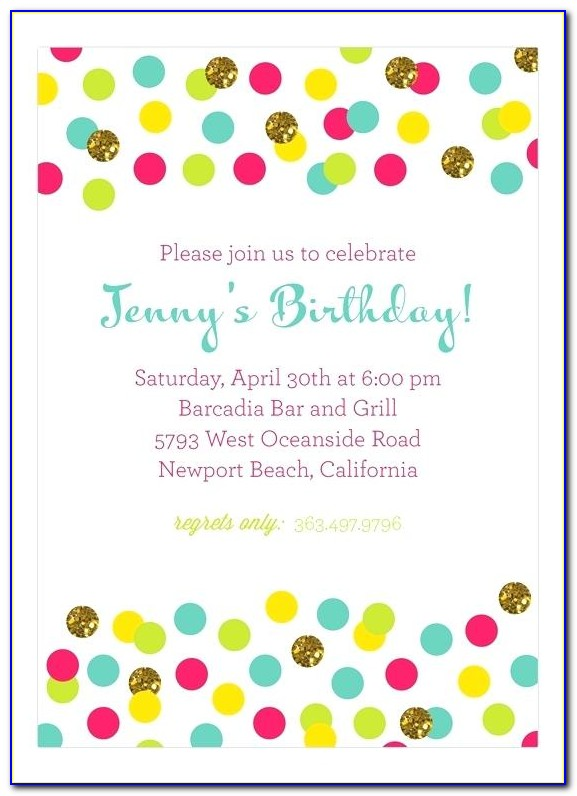Polka Dot Birthday Party Invitation Template