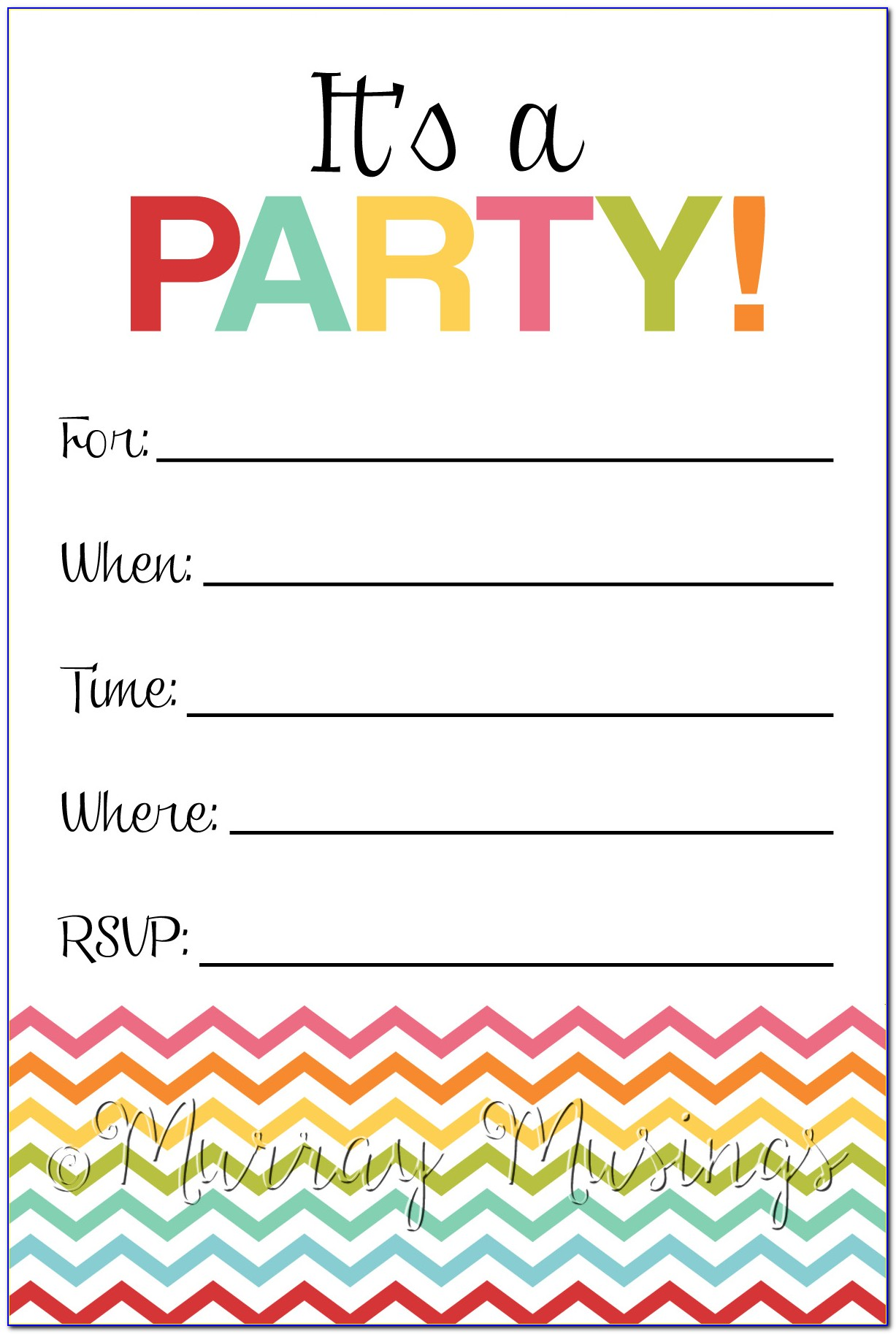 Pool Party Invitation Template Printable