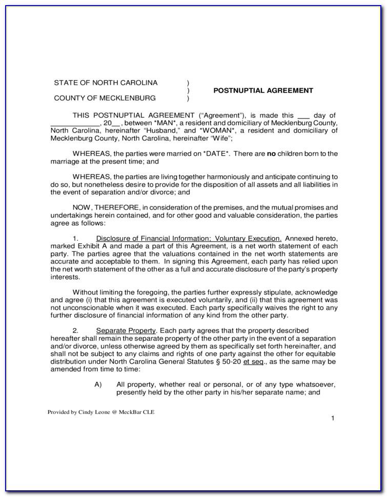 Post Nuptial Agreement Pennsylvania Sample