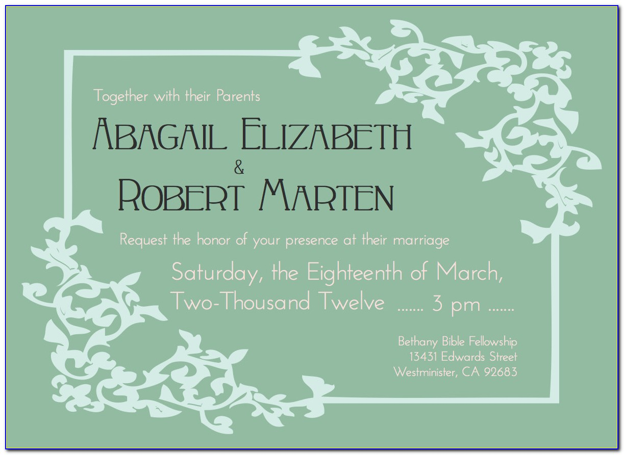 Post Wedding Reception Invitation Templates Free