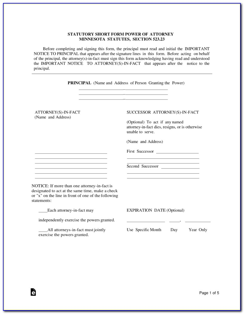 Power Of Attorney Document Mn