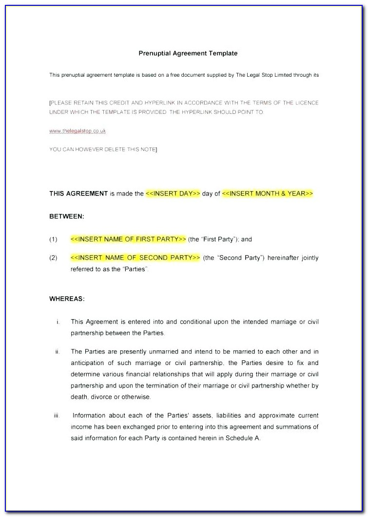 Prenuptial Agreement Template Word