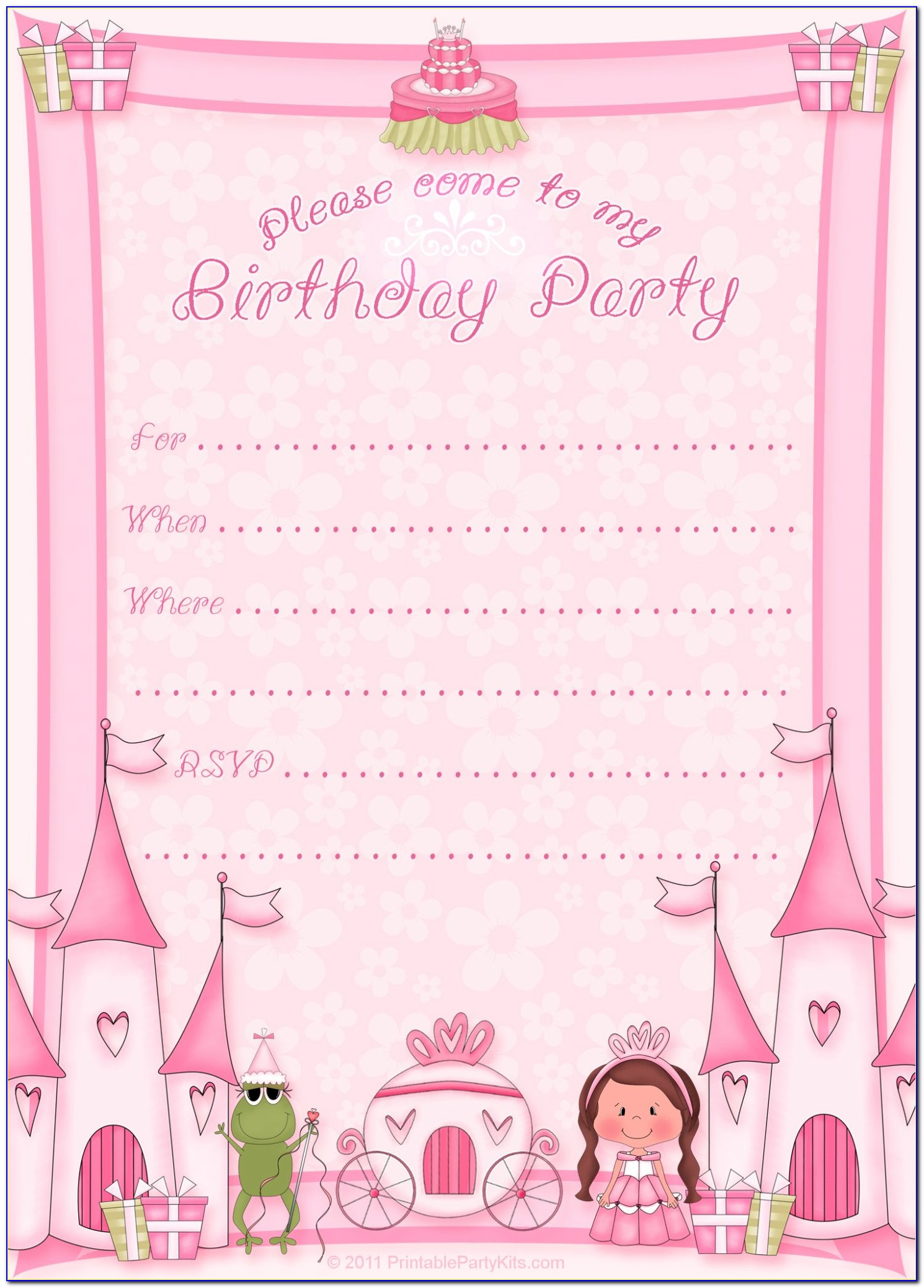 Princess Birthday Template Free