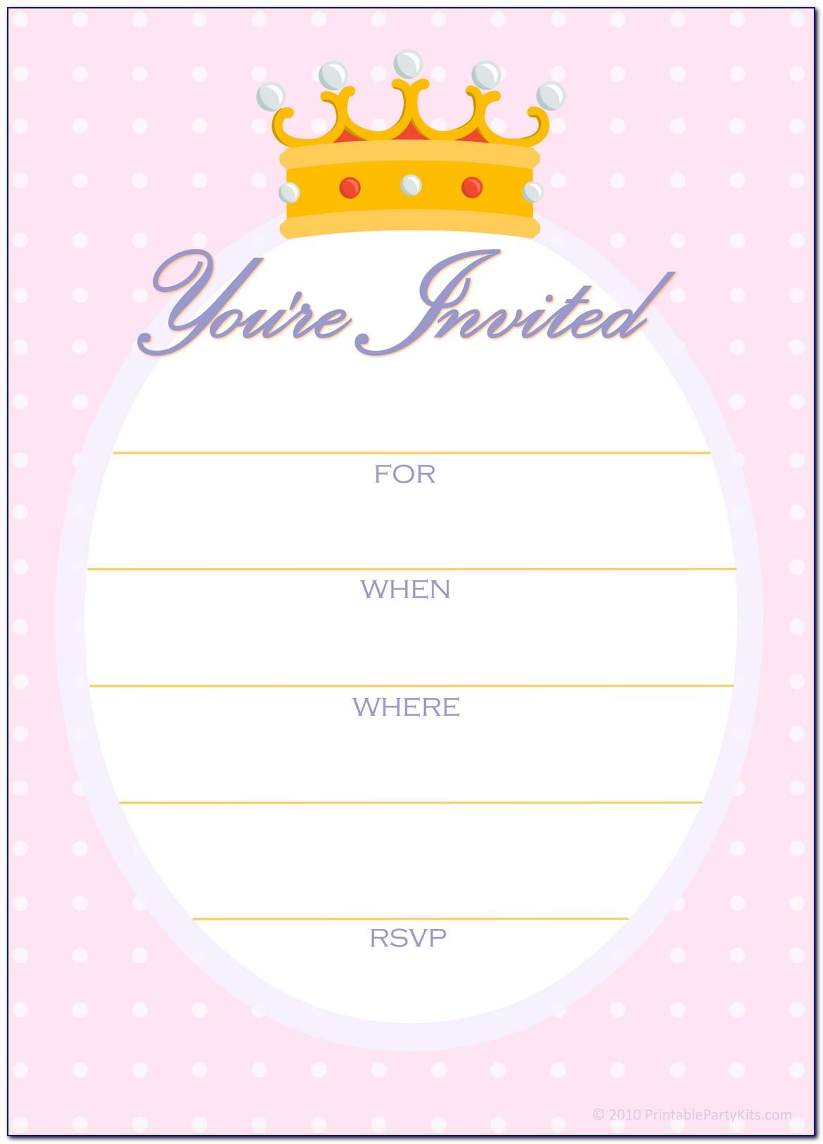 Princess Crown Birthday Invitation Template