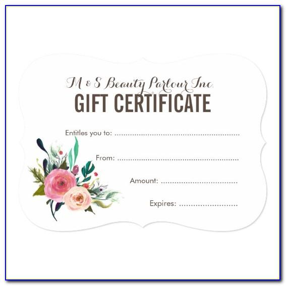 Printable Hair Salon Gift Certificate Templates