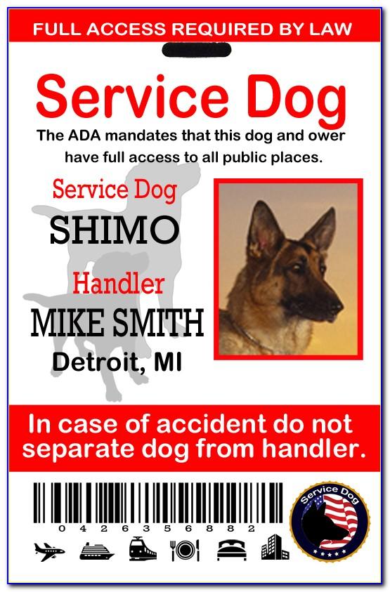 Printable Service Dog Id Card Template