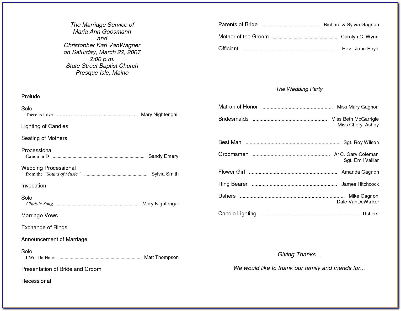 Printable Templates For Church Programs