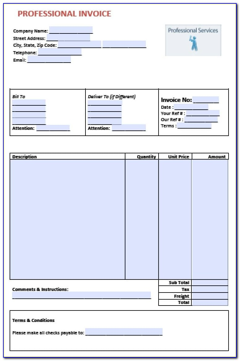 Professional Invoices Samples