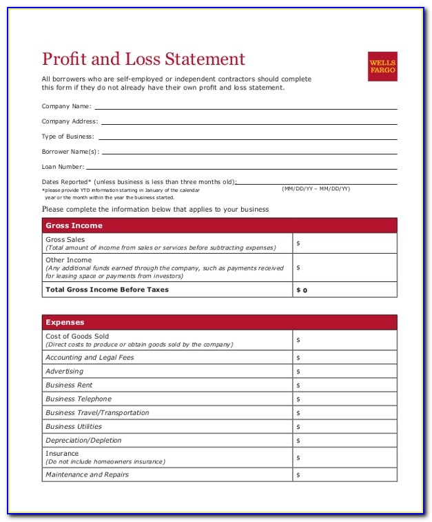 Profit And Loss Statement Sample For Small Business
