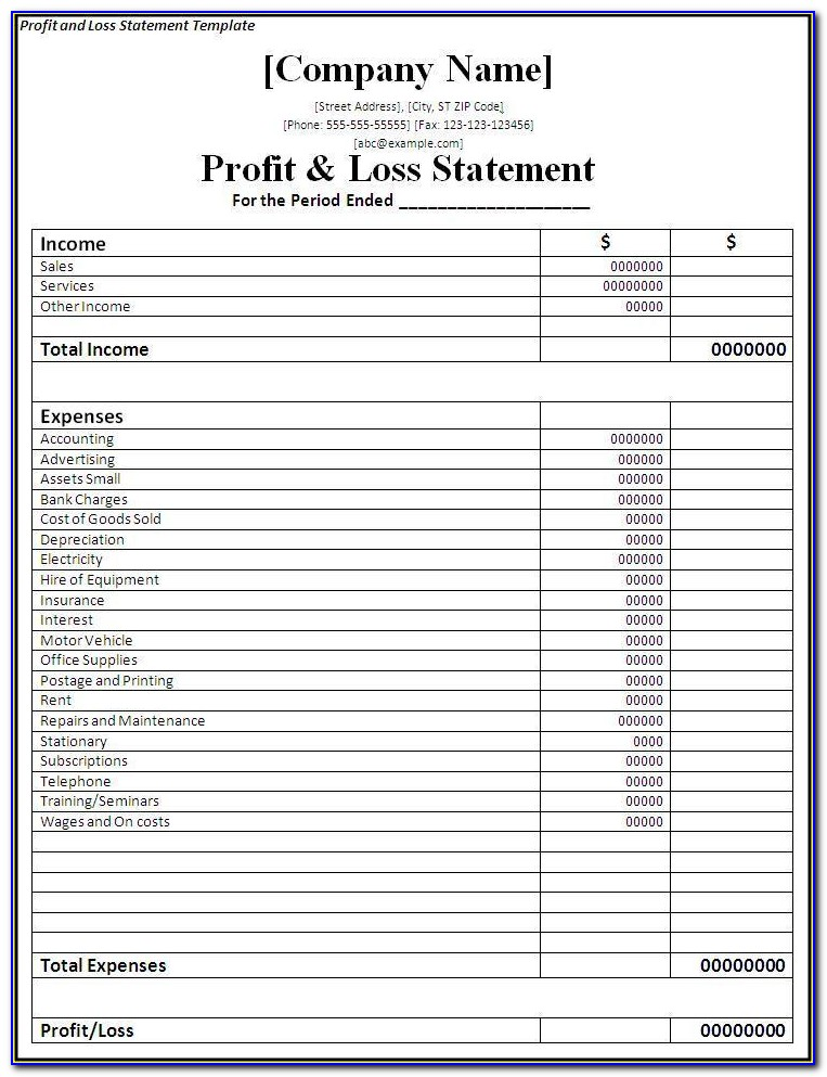 Profit And Loss Statement Template Simple