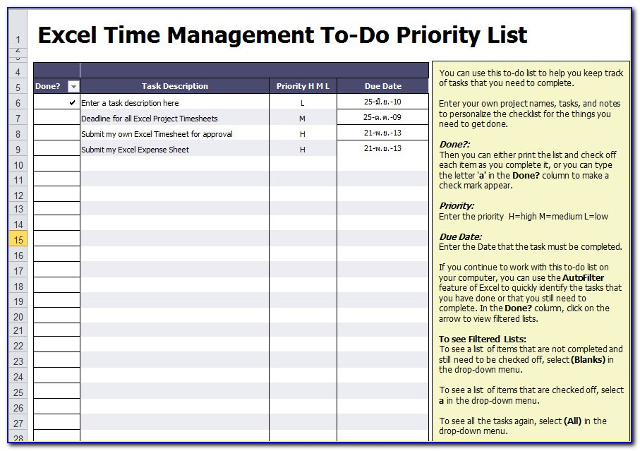 Project Management Task List Template Excel