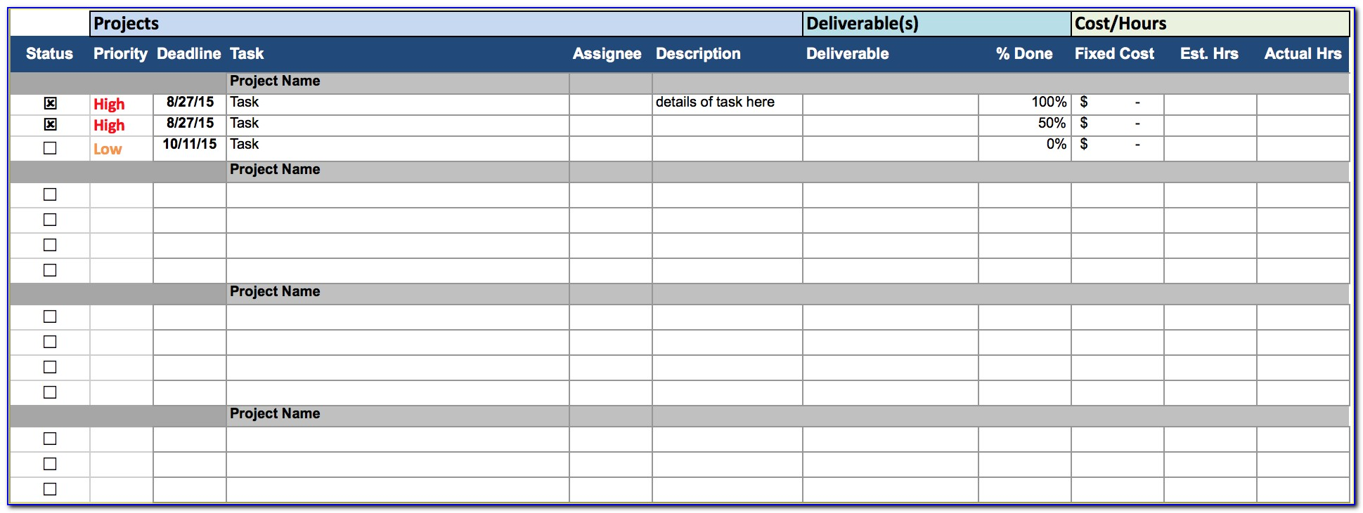 Project Task Tracking Template