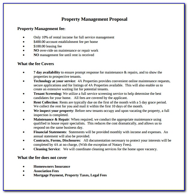 Property Management Proposal Template Free
