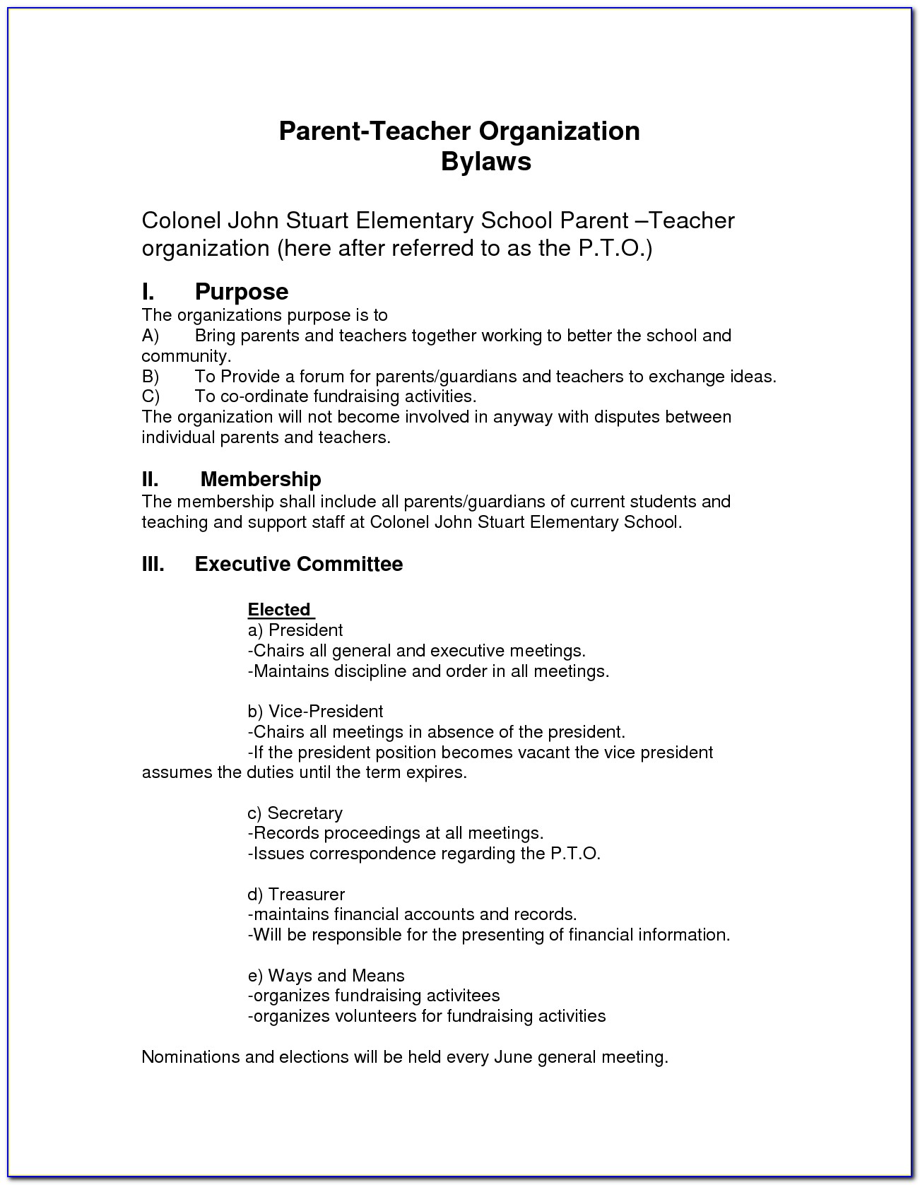 Pto Bylaws Template