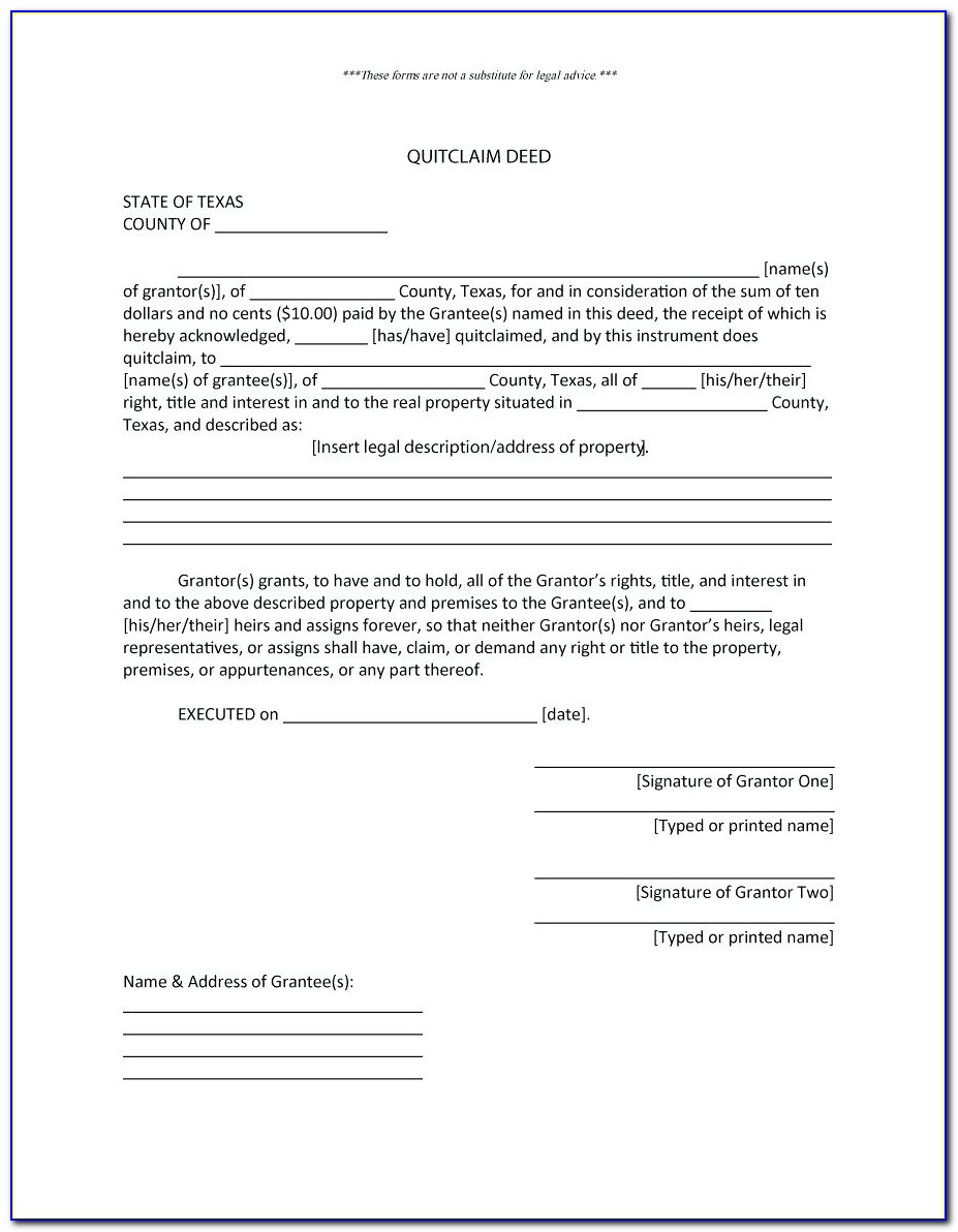 Quit Claim Deed Form Word Document